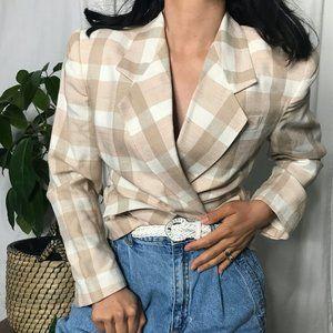 Vintage 1980s linen blazer checkered beige white 8